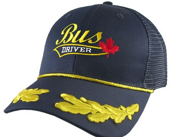 Bus Driver Red Canada Maple Leaf Yellow School Bus Driver Embroidery on an Adjustable Structured Navy Blue Laurels Trucker Cap with Options