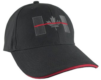 Canadian Thin Red Line Canada Firefighters Symbolic Black Red Embroidery Adjustable Black and Red Trimmed Structured Adjustable Baseball Cap