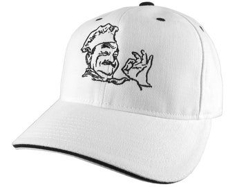 Happy Chef Embroidery on an Adjustable White and Black Soft Structured Yupoong Baseball Cap with Options to Personalize on 2 Locations