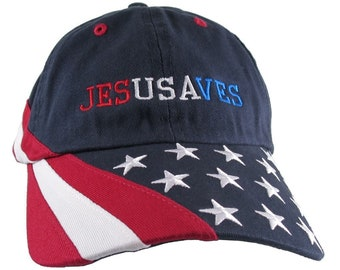 Jesus Saves Custom Embroidery on an Adjustable Navy Blue Unstructured USA Stars and Stripes Low Profile Baseball Cap