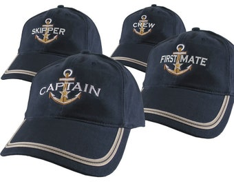 Nautical Star Anchor Captain and Crew Embroidery Adjustable Navy Blue Soft Structured Baseball Cap with Options to Personalize Boat Name