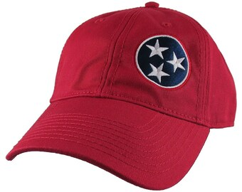 Tennessee State Flag Symbol Embroidery Design on an Adjustable Cranberry Red Unstructured Classic Mid Profile Baseball Cap