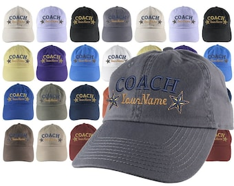 Custom Personalized Coach Name Stars Embroidery on Your Selection of Adjustable Unstructured Baseball Cap Dad Hat + Option Back Embroidery