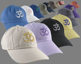 Custom OM Spiritual Symbol Yoga Lifestyle Your Color Embroidery Design on Your Selection Adjustable Unstructured Baseball Caps Dad Hat Style