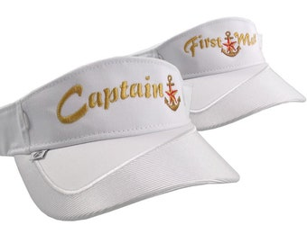 Captain and First Mate Nautical Star Anchor Embroidery Couple White Visors Duo Adjustable Elegant Fashion Sun Hats