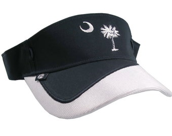 South Carolina State Flag Embroidery on an Adjustable Navy Blue and White Fashion Sun Visor Style Cap
