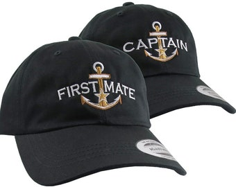2 Hats Nautical Golden Star Anchor Captain + First Mate Embroidery Adjustable Black Unstructured Yupoong Baseball Caps +Personalized Options