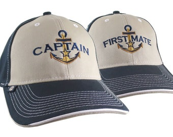 2 Hats Nautical Golden Star Anchor Captain + First Mate Embroidery Adjustable Beige + Navy Structured Baseball Caps + Options to Personalize