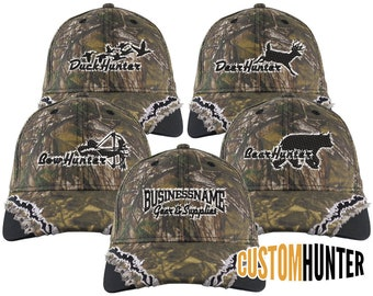 Custom Personalized Hunter Embroidery on an Adjustable Full Fit RealTree XTRA Camo Baseball Cap Your Choice of 5 Front Designs + Options