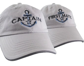 Nautical Silver Star Anchor Captain + First Mate Embroidery 2 Adjustable Grey Unstructured Baseball Caps Options to Personalize Dad Hats