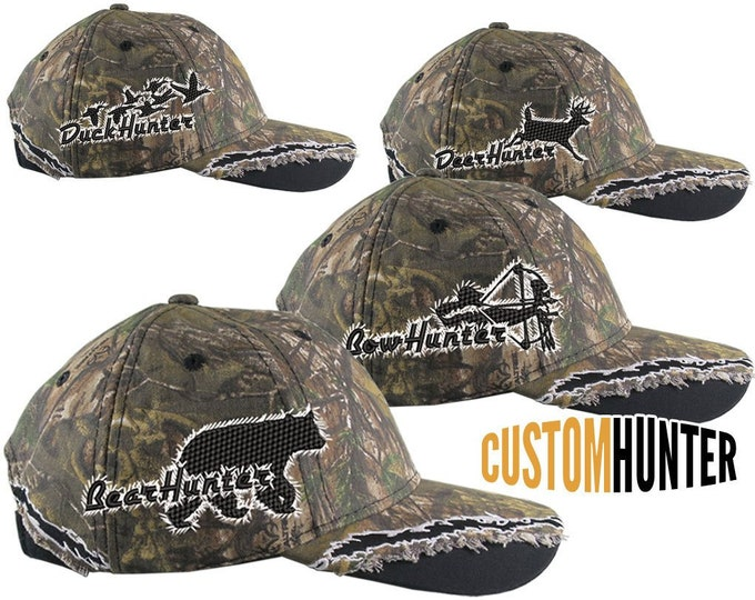 Featured listing image: Custom Personalized Hunter Embroidery on an Adjustable Full Fit RealTree XTRA Camo Baseball Cap Your Choice of 4 Right Side Designs +Options