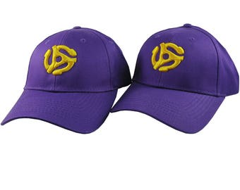 Pair of Disc Jockey 45 Spacer 3D Puff Yellow Embroidery Designs on 2 Purple Adjustable Structured Baseball Caps for Adult + Child Age 6-14