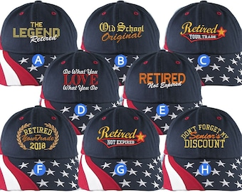 Custom Retirement Embroidery Stars and Stripes Unstructured Classic Adjustable Baseball Cap Selection 8 Designs Some Personalized + Options