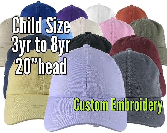 Featured listing image: Child Size Custom Personalized Embroidery on a 15 Colors Selection of Adjustable Unstructured Baseball Caps Options Personalized Side + Back