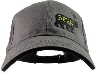 Deer Plus Bear for Beer Humorous Black Embroidery on an Adjustable Graphite and Black Structured Fashion Baseball Cap
