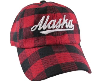 Alaska 3D Puff Raised White Embroidery Red and Black Buffalo Check Plaid Soft Structured Fashion Baseball Cap Dad Hat Style Lumberjack