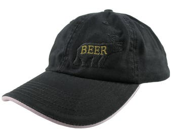 Deer Plus Bear for Beer Humorous Black Embroidery on an Adjustable Black and Pink Unstructured Fashion Baseball Cap