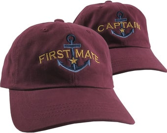 Captain and First Mate Nautical Couple Embroidery on Adjustable Maroon Unstructured Dad Hat Style Baseball Caps + Options to Personalize