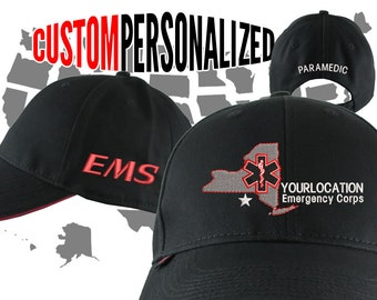 Custom Personalized RED Paramedic EMT EMS Star of Life 3 Locations Embroidery on an Adjustable Black Structured Premium Baseball Cap