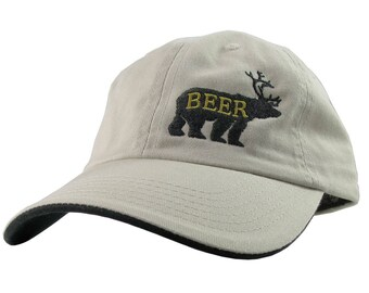 Deer Plus Bear for Beer Humorous Black Embroidery on an Adjustable Stone Beige and Black Unstructured Fashion Baseball Cap