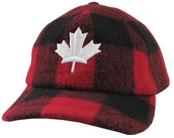 Made in Canada 3D Puff White Maple Leaf Embroidery on a Red Buffalo Check Plaid Woolen Unstructured Fitted Fashion Ball Cap Lumberjack Style