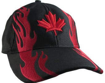 Vibrant Canadian Red Maple Leaf 3D Puff Style Embroidery Design on a Black Adjustable Structured Fashion Red Racing Flames Baseball Cap