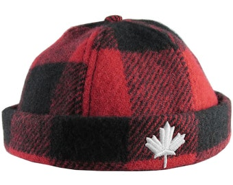 Canadian White Maple Leaf 3D Puff Embroidery on a Red and Black Buffalo Check Beanie Style Winter Fashion Fitted Woolen Hat Made in Canada