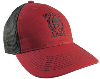 Molon Labe Spartan Warrior Mask in Laurels Black Embroidery on an Adjustable Red and Black Structured Truckers Style Ball Cap