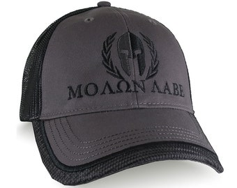 Custom Molon Labe Spartan Warrior Mask Black Embroidery on an Adjustable Structured Charcoal and Black Trucker Cap Classic Profile