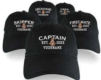 Custom Personalized Captain First Mate Skipper Deckhand Crew Embroidery on an Adjustable Unstructured Black Baseball Cap with Option