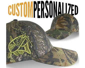 Custom Personalized Catfish Fishing Embroidery on Adjustable Classic Camo Baseball Cap Front Decor Selection and Options for Side and Back