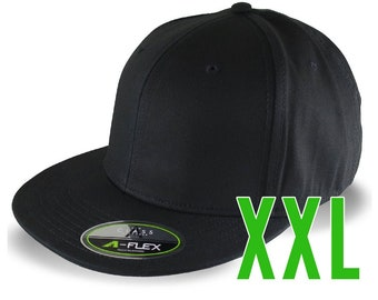 Blank or Custom Embroidery on an Oversized Double XL Fitted Structured XXL Flat Peak Black Baseball Cap with Options