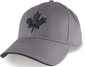 Canada Canadian Black Maple Leaf 3D Puff Embroidery Adjustable Graphite Grey Soft Structured Baseball Cap Options to Personalize Side Back