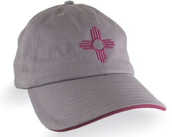 New Mexico Zia Symbol Embroidery on an Adjustable Black Soft Structured Classic Baseball Cap with Personalization Options