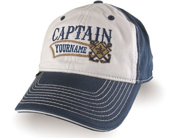 Nautical Star Crossed Anchors Boat Captain and Crew Personalized Embroidery Adjustable Navy Blue Unstructured Baseball Cap with Options