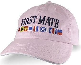 First Mate on Nautical Flags Embroidery on an Adjustable Light Pink and White Unstructured Classic Dad Hat Cap with Personalization Options