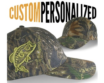 Custom Personalized Bass Fishing Embroidery on Adjustable Classic Camo Baseball Cap Front Decor Selection and Options for Side and Back