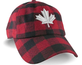 3D Puff Maple Leaf White Raised Embroidery Red and Black Buffalo Check Lumberjack Plaid Soft Structured Fashion Baseball Cap Dad Hat Style