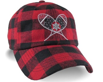 Crossed Snowshoes Embroidery on Red and Black Buffalo Check Lumberjack Plaid Soft Structured Fashion Baseball Cap Dad Hat Style