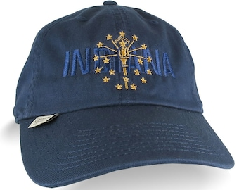 Indiana State Flag Embroidery on an Adjustable Navy Blue Unstructured Classic Organic Cotton Baseball Cap with Personalization Options