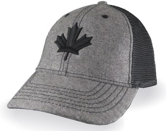 Canadian Black Maple Leaf 3D Puff Embroidery Canada Flag on an Adjustable Reversed Black Denim Soft Structured Trucker Style Mesh Ball Cap