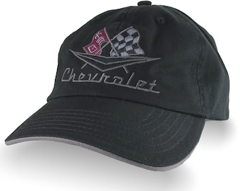 Vintage Chevrolet Embroidery on an Adjustable Unstructured Classic Dad Hat in Black and Charcoal Trimmed Cap with Personalization Options