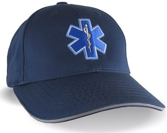 Paramedic EMT EMS Star of Life Embroidery Reflective Trim Navy Blue Structured Adjustable Baseball Cap with Personalization Options