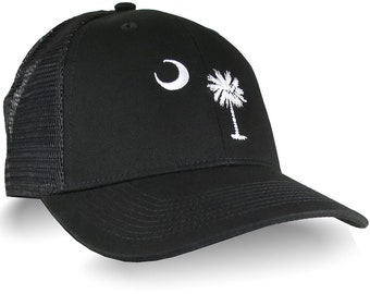 South Carolina State Flag Embroidery on an Adjustable Black Structured Classic Trucker Mesh Cap