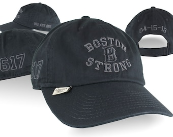 Boston B Strong Remembrance 4 Locations Black on Black Embroidery on an Adjustable Black Unstructured Classic Organic Cotton Baseball Cap