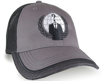 Anonymous Logo Embroidery on an Adjustable Charcoal Grey and Black Trimmed Structured Classic Style Trucker Mesh Fashion Cap