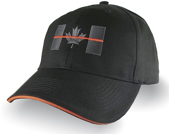 Canadian Thin Orange Line Canada Symbolic Search and Rescue Embroidery Adjustable Black Orange Trimmed Structured Adjustable Cap and Options