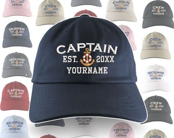 Custom Personalized Captain First Mate Skipper Deckhand Crew Embroidery Selection of 9 Adjustable Unstructured Baseball Caps Dad Hat +Option