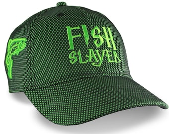 Custom Fish Slayer Trout Embroidery on an Adjustable Structured Kelly Green Mid-Profile Baseball Cap Fishing in Style with Options