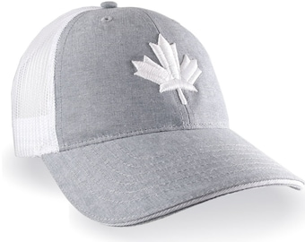 Canadian White Maple Leaf 3D Puff Embroidery Canada Flag on an Adjustable Light Grey and White Soft Structured Trucker Style Mesh Ball Cap